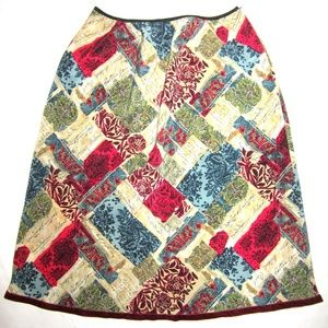 ♥️MIXIT Patchwork Print SKIRT Womens LARGE Pull On